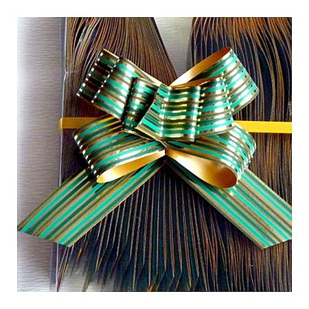 Дърпащи панделки метализе (Италия), 2 см/ зелено, злато (20/40/1516660)