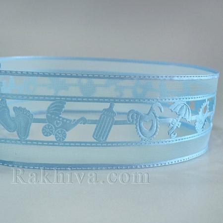 Декоративна панделка Бебе, 38мм/4,5m, синьо (38/5/OCOR-S054-38mm-05)