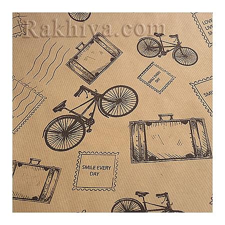 Крафт хартия за букети и опаковане, 70 см/ 32 м, ретро колело (70/32/41830)