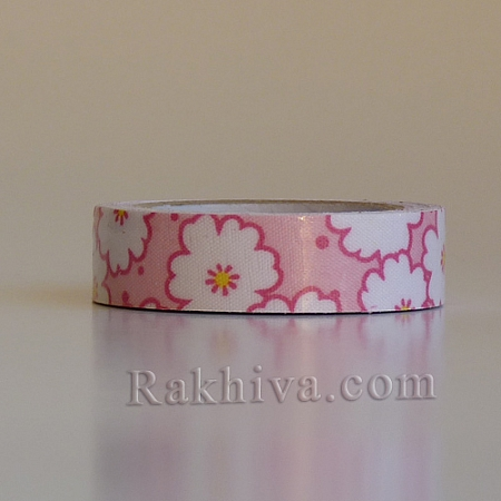 Декоративно тиксо Цветя, розово (OCOR-S071-07)