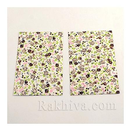 Лен, листи  (самозалепващ гръб) Розички, 1 лист, кафяво, 100мм/ 65мм (DIY-Q003-03C)