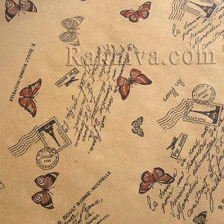 Крафт хартия за букети и опаковане Пеперуди, 60 см/ 25 м, червено (60/25/1880)
