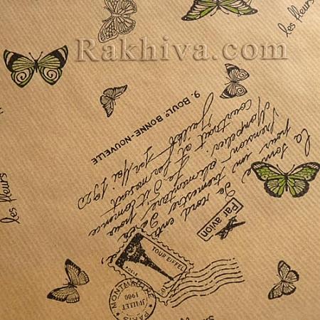 Крафт хартия за букети и опаковане Пеперуди, 60 см/ 50 м, зелено (60/50/1860)
