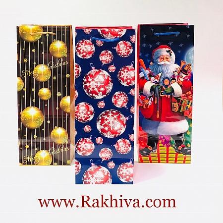 Коледни ламинирани торбички БУТИЛКА, 10,2x36,8x8,94см (TG-50S)