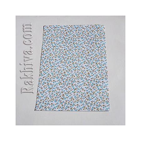 Лен, листи  (самозалепващ гръб) Розички, 1 лист, синьо, А4 297мм/ 210мм (DIY-Q002-03D-1)