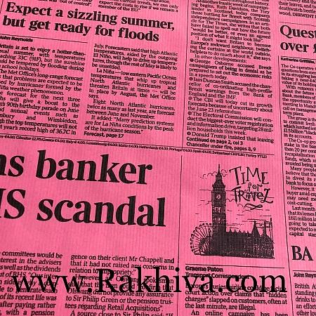 Крафт хартия за букети и опаковане Вестник, 70 см/ 32 м, розово,черно (70/32/81890)