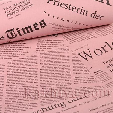 Крафт хартия за букети и опаковане Вестник, 60 см/ 25 м, розово (60/25/18240)