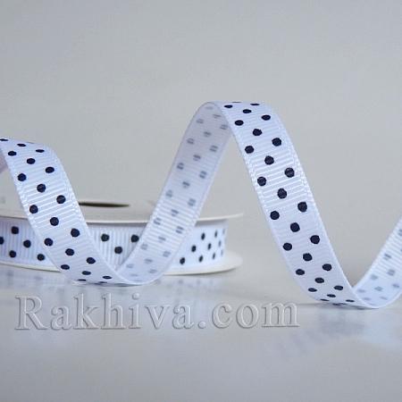 Панделка сатен - релефен сатен с точки, 10 мм/ 10 м (бяло,черно) (10/10/201/029/030)