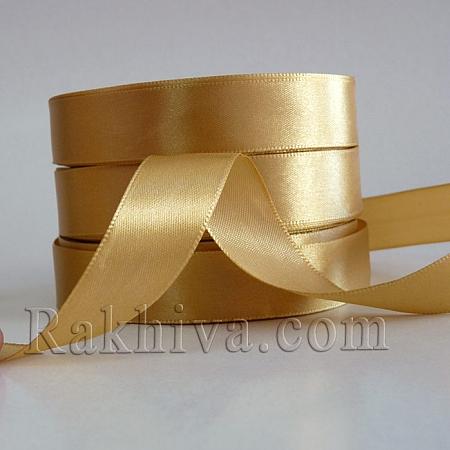 Панделка сатен - светло злато, 3 мм/ 20 метра 110/(3/20/23202), без шпула