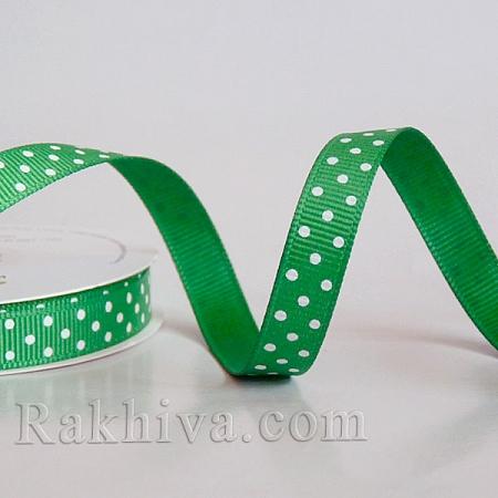 Панделка сатен - релефен сатен с точки, 10 мм/ 10 м (тревисто зелено, бяло) (10/10/206/580)