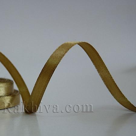 Панделка сатен - злато мат, 1 ролка 6 мм/ 25 ярда 135/(6/25/23201)