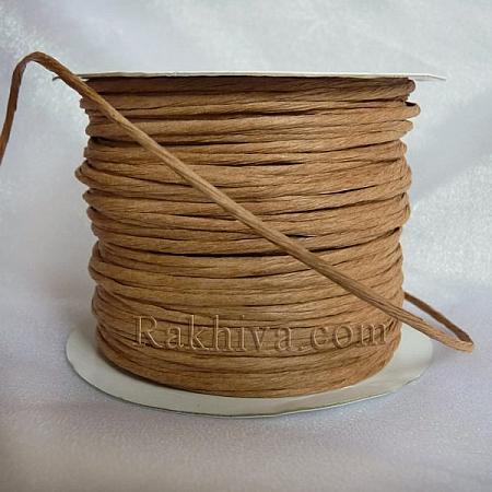 Хартиен шнур с тел, св. кафяво (2/50/6133) (ролка 50м)