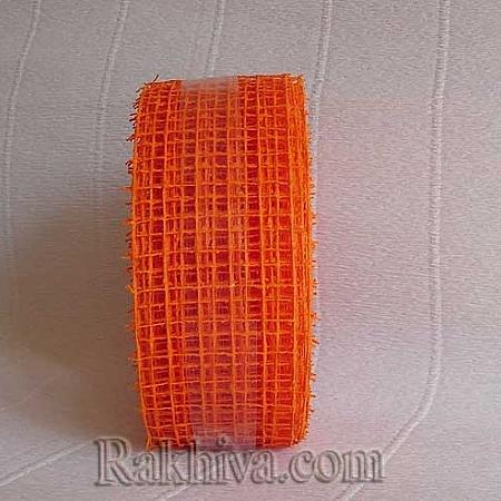 Панделка мрежа  за цветя и декорация  Ракхива, 5 см оранжево (5/10/2575)
