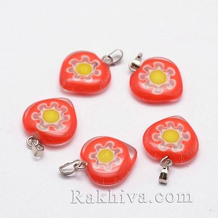 Сърце тип Лампуърк с цвете, червено - оранжево, сърце (LAMP-G121-07)