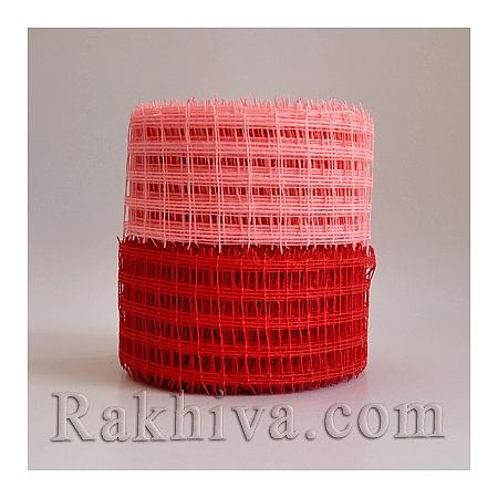 Натурална панделка мрежа  за цветя и декорация  Ракхива, 10 см червено (10/10/2580)