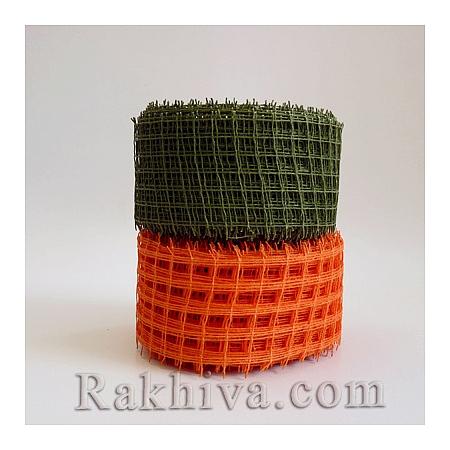 Натурална панделка мрежа  за цветя и декорация  Ракхива, 5 см тъмно зелено (5/10/2565)