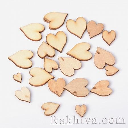 Дървени сърца за бижута, за декорация, за украса, дървени сърца (WOOD-D011-02)