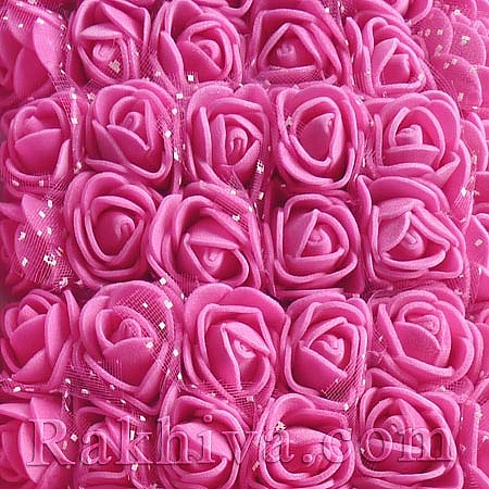 Силиконови розички - клонка, вечни рози, тъмно розово (2,5 см/ 12 бр.)