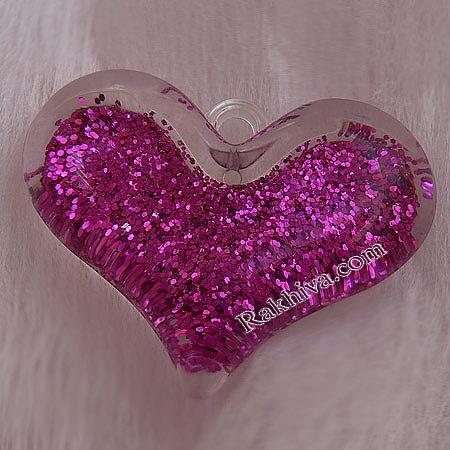 Медальон сърце - розово, сърце, розово, 1 бр. (MACR-B836-10)