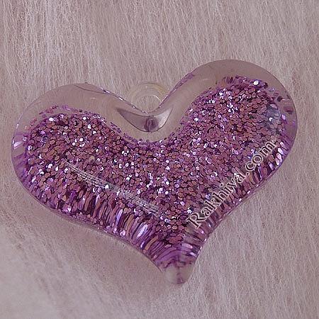 Медальон сърце - розово-лилаво, сърце, лилаво, 1 бр. (MACR-B836-13)