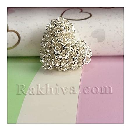 Сърца за обеци, медальон, за бижута и декорация, цвят сребро