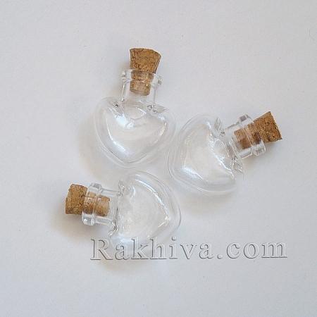 Стъклени шишенца СЪРЦЕ, 1 бр (AJEW-R045-02)