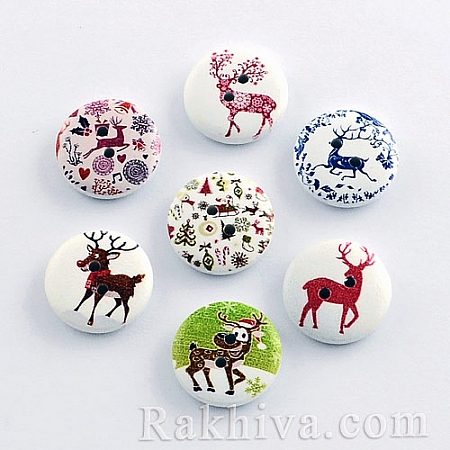 Коледни копченца с еленчета, коледни копченца 10 бр. (BUTT-R032-058)