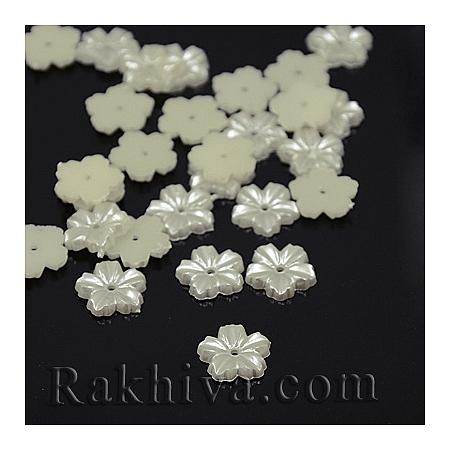 Цветя от перли за обеци, медальон, за бижута и декорация, цветя, слонова кост (MACR-F030-22A)