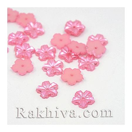 Цветя от перли за обеци, медальон, за бижута и декорация, цветя, перлено розово(MACR-F030-18A)