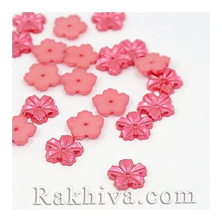 Цветя от перли за обеци, медальон, за бижута и декорация, цветя, червено (MACR-F030-13A)