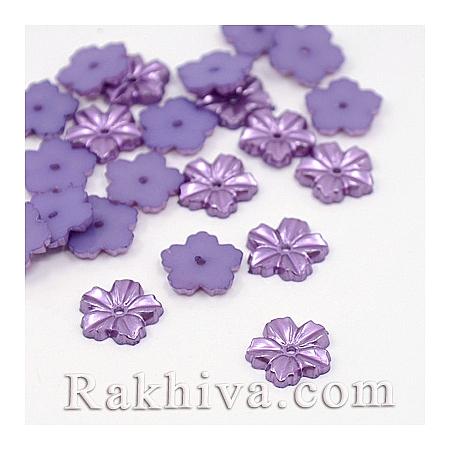 Цветя от перли за обеци, медальон, за бижута и декорация, цветя, лилаво (MACR-F030-02A)