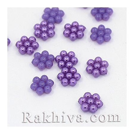Цветя от перли за обеци, медальон, за бижута и декорация, цветя, лилаво (MACR-F026-02)