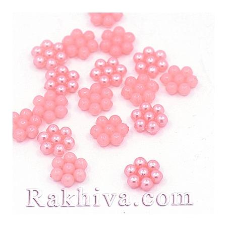 Цветя от перли за обеци, медальон, за бижута и декорация, цветя, розово (MACR-F026-17)