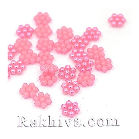 Цветя от перли за обеци, медальон, за бижута и декорация, цветя, перлено розово (MACR-F026-18)