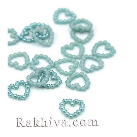Сърца от перли за обеци, медальон, за бижута и декорация, синьо 50 бр. (X-MACR-F021-01)