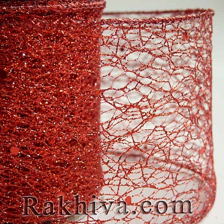 Мрежа с брокат - червено, 5 см / 10 Y (50/10/3880)