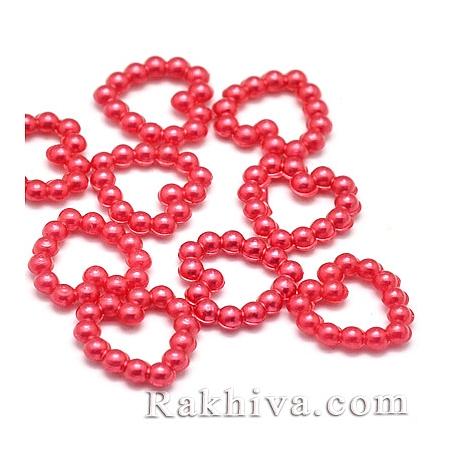 Сърца от перли за обеци, медальон, за бижута и декорация, сърце, червено 50 бр. (MACR-F021-15)