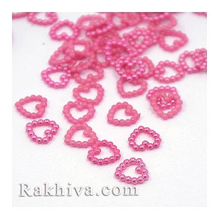 Сърца от перли за обеци, медальон, за бижута и декорация, сърце, тъмно розово 50 бр. (MACR-F021-18)