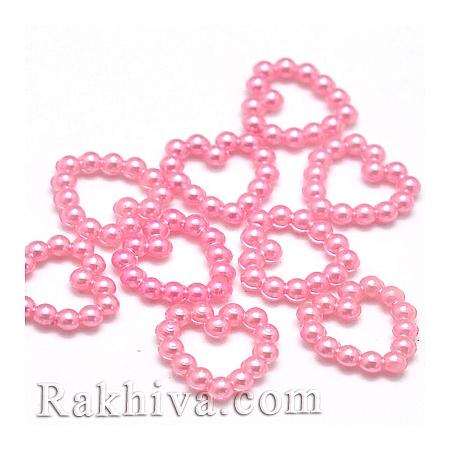 Сърца от перли за обеци, медальон, за бижута и декорация, сърце, перлено розово 50 бр. (MACR-F021-03)