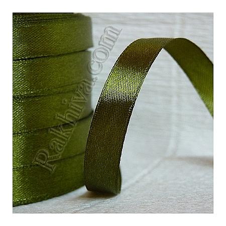 Панделка сатен - маслено зелено, 1 ролка 10 мм/ 25 ярда 146/155/(10/25/2367)