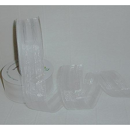Тъкани панделки органза Ракхива, 4/10/2671/B020-2 (бяло,сребро)