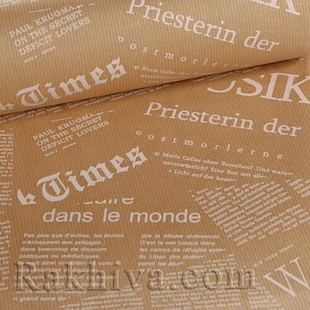 Крафт хартия за букети и опаковане Вестник, 60 см/ 25 м, натурал,екрю (60/25/18230-12)