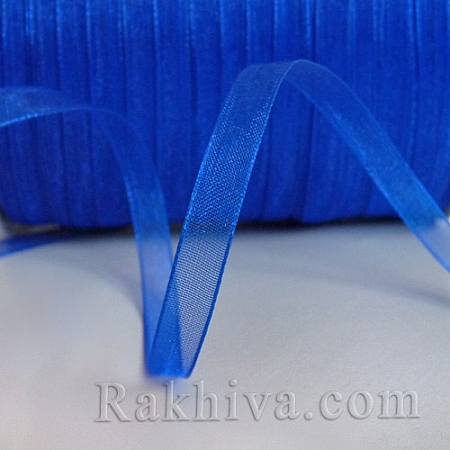 Тъкани панделки Органза, 6 mm/ 50 ярда тъмно синьо (6/50/2255)