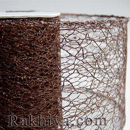 Мрежа с брокат - кафяво, 8 см/ 10 Y (80/10/3834)