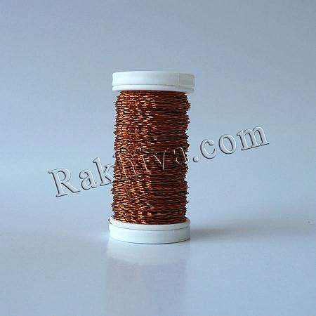 Цветна тел с ЕФЕКТИ за бижута, декорация и букети, оранжево (0.3 мм/ 50 г)