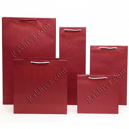 Едноцветни торбички - бордо, 12см/18см/5см (малки) (12/18/7286)