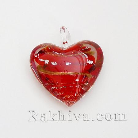 Сърце за бижу - сребърна нишка, червено (FOIL-X023-2)