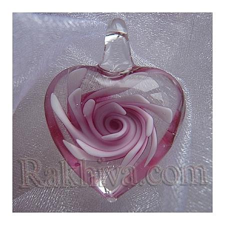 Сърце тип Лампуърк, розово, сърце, 24мм/19мм (LAMP-24X19-4)
