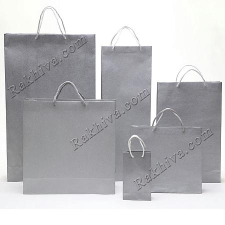 Едноцветни торбички - сребро, 8см/12см/3.5см (мини) (8/12/72300)