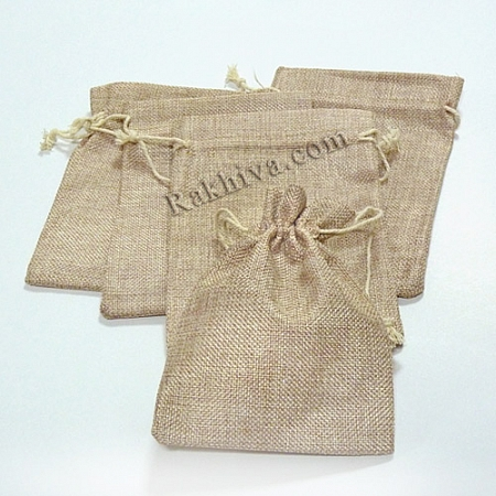 Ленени торбички за подаръци натурал, 9 см/ 12 см, (9/12/8330)